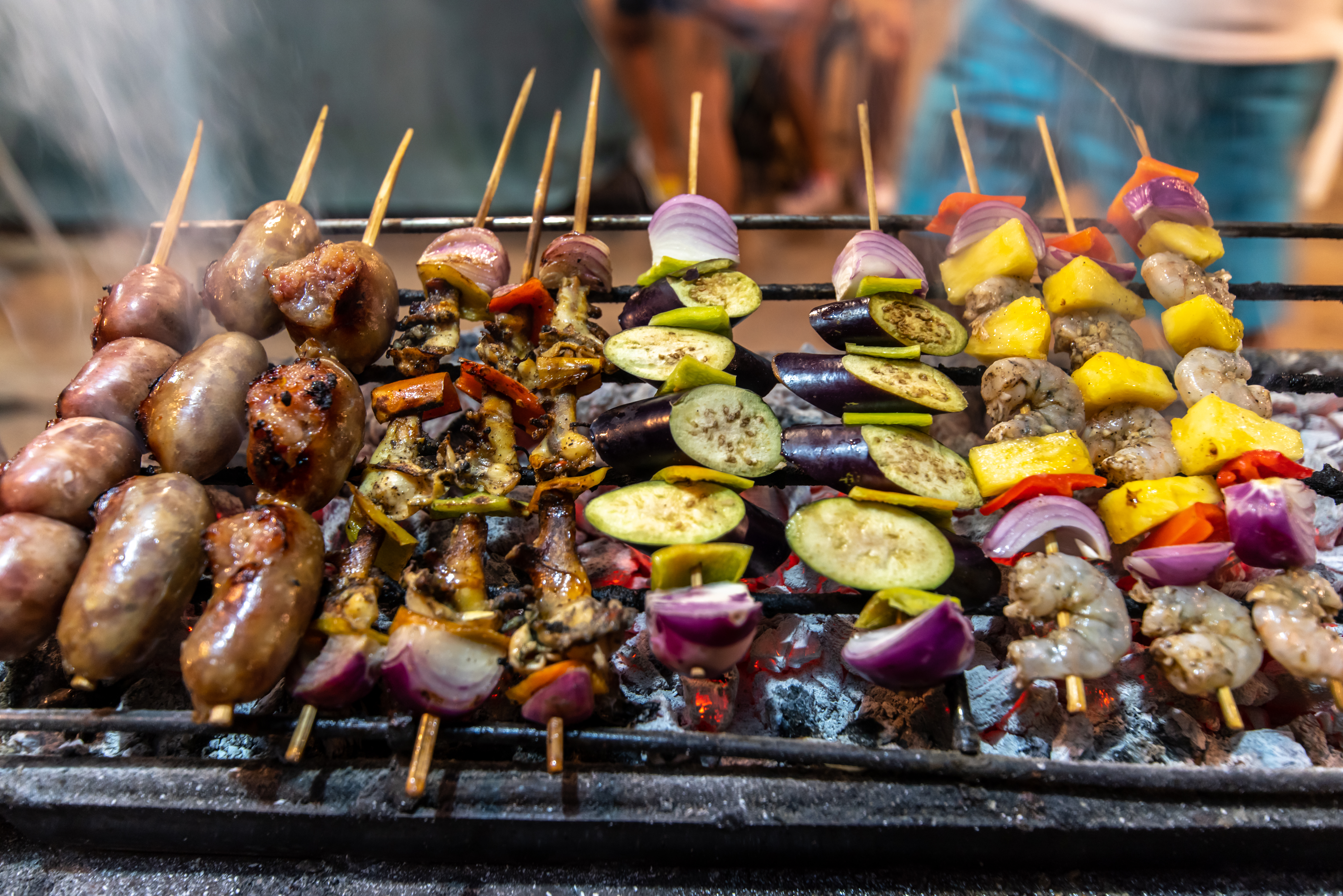 Filipino skewers on the BBQ
