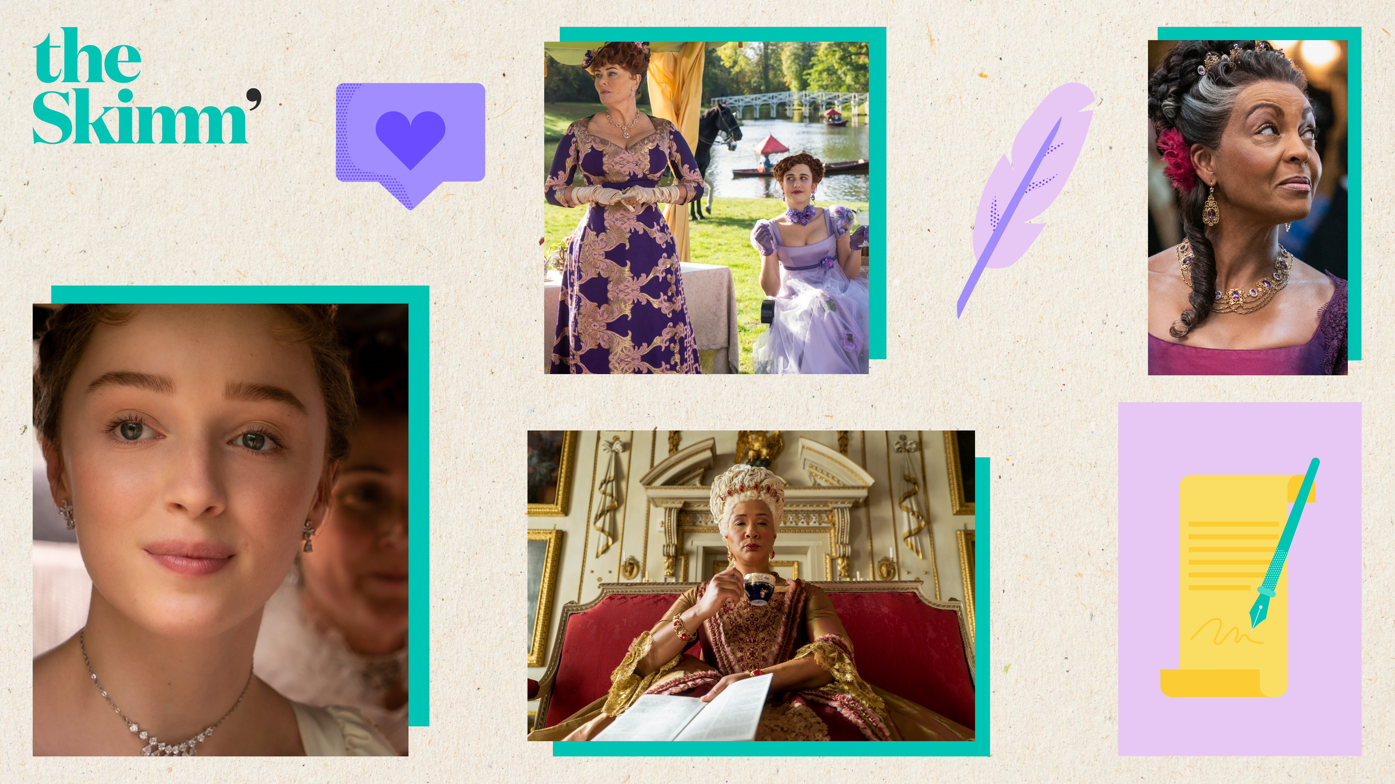 """collage of icons and character from Netflix's period drama, """"Bridgerton"""""""
