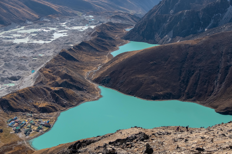 Pur. Panoramic view on Ngozumpa glacier, Gokyo lakes and Gokyo village from summit of Gokyo Ri.