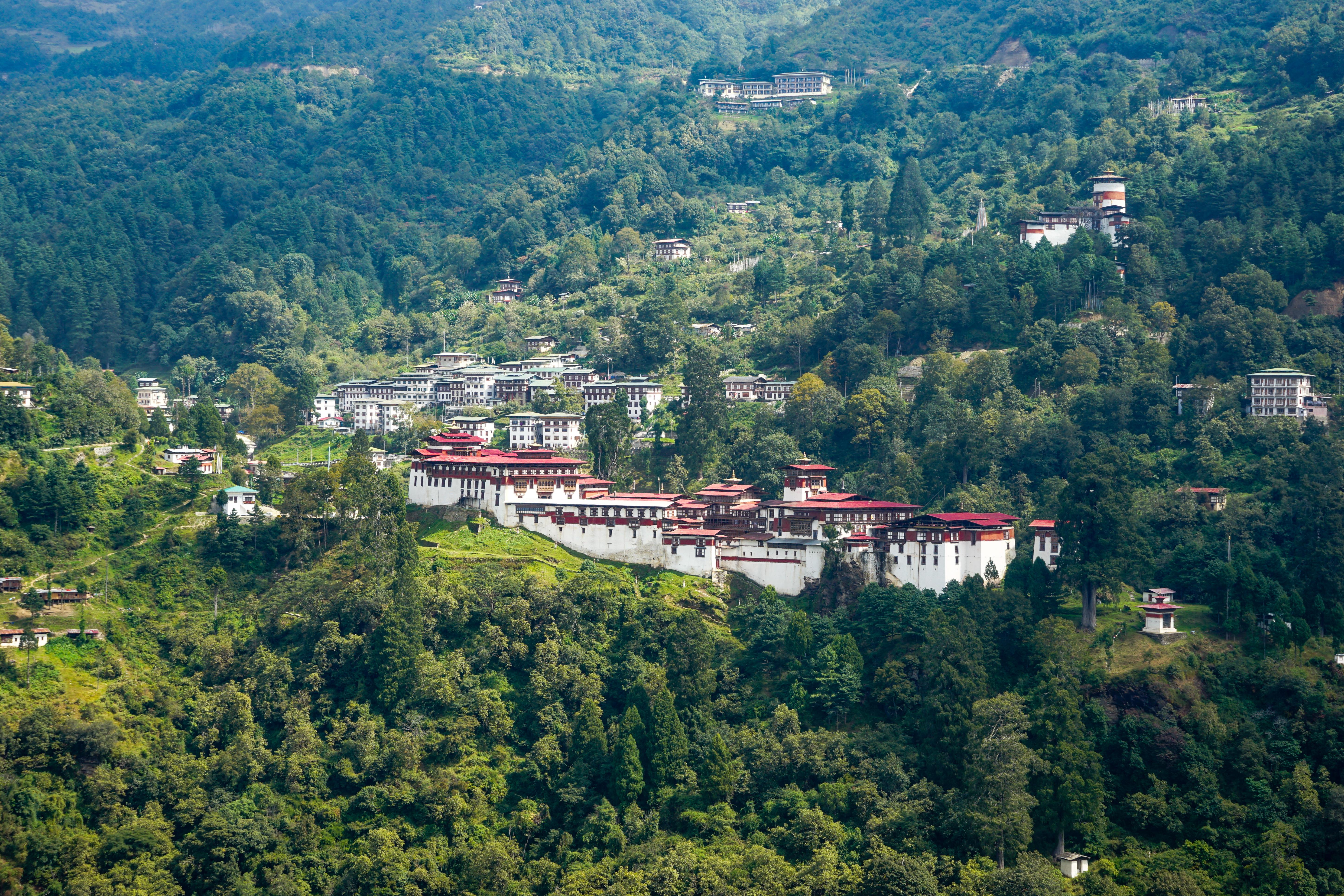 Pur. Trongsa Dzong, biggest fortress in Bhutan, October 2018