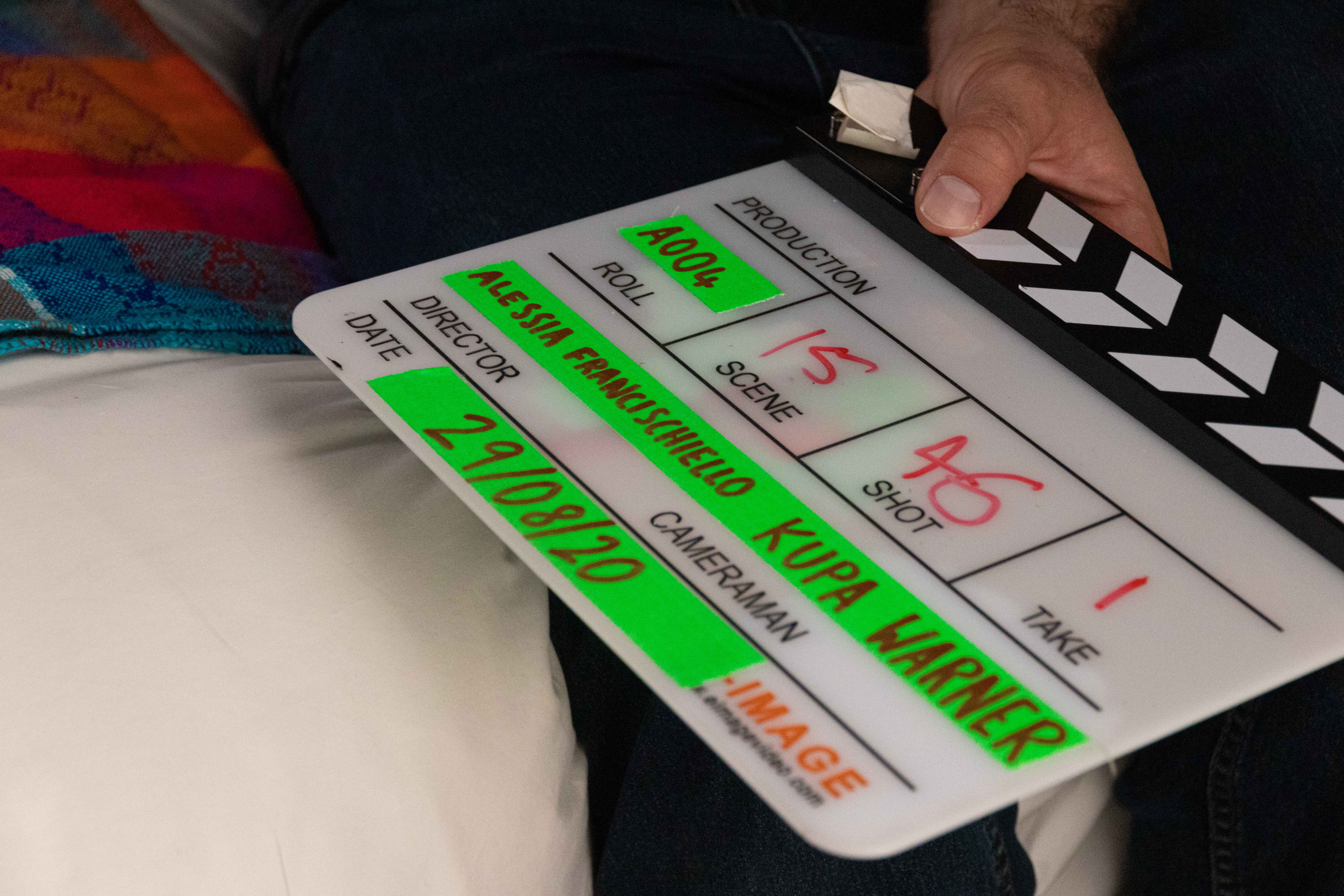 Alessia Francischiello name on clapper board film the terrorist