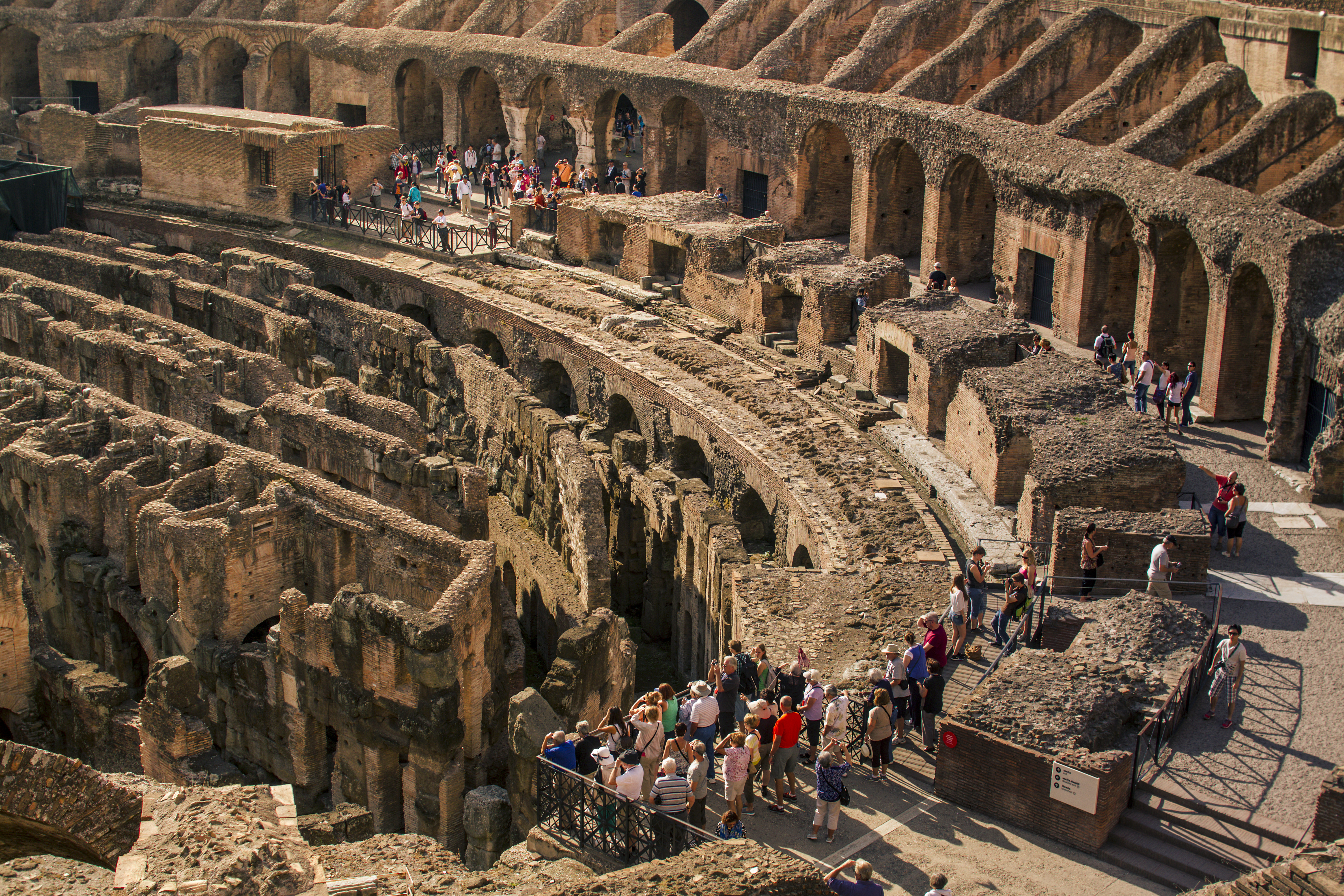 Rows of seats in the Roman Colosseum