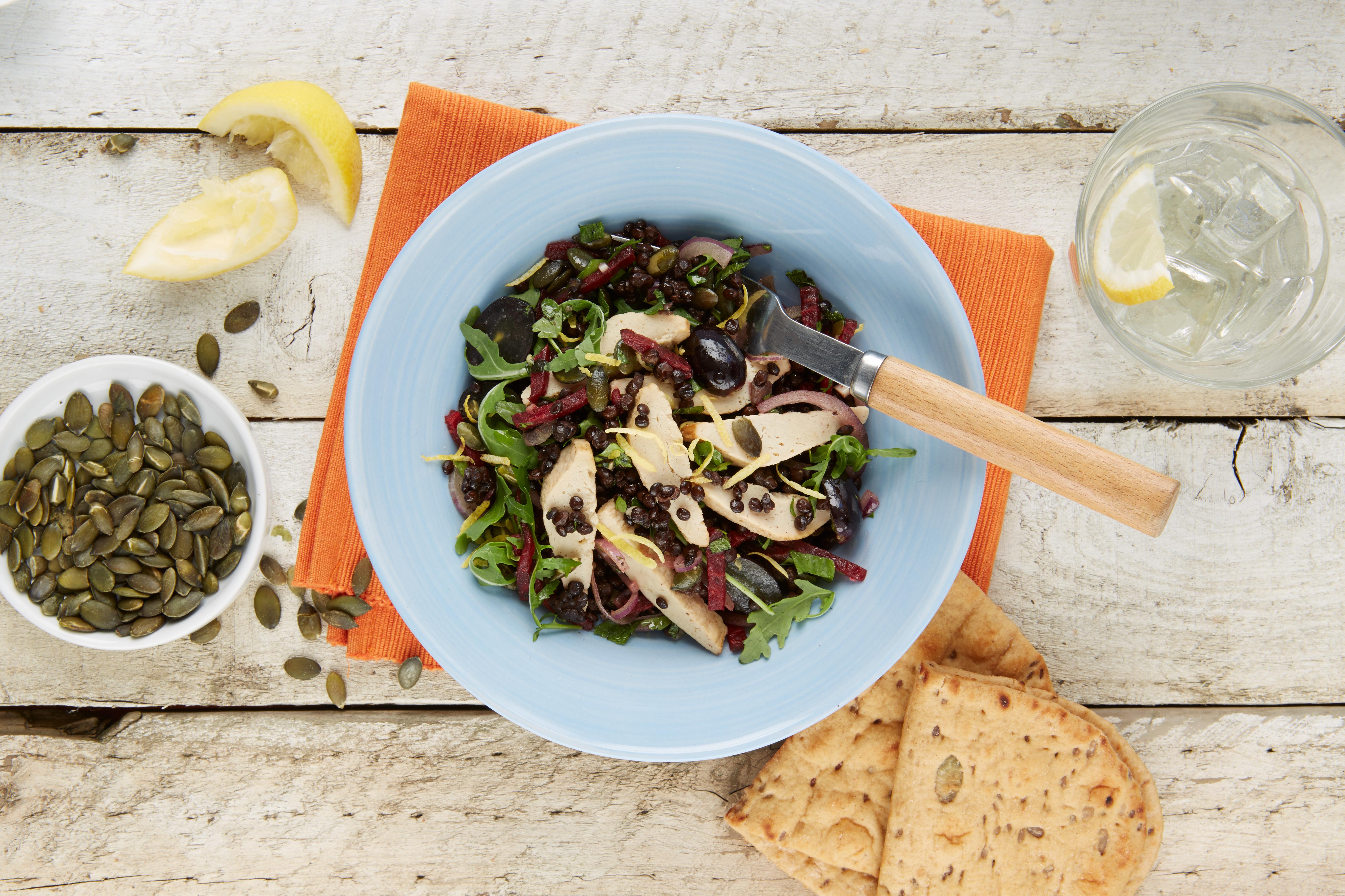 Vegetarische Filets mitLinsen-Tabouleh-Salat